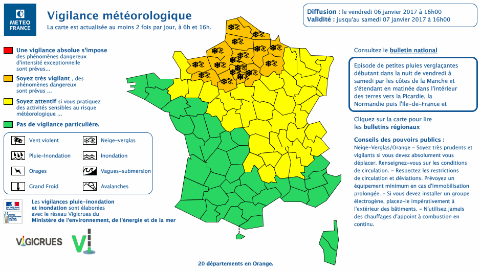 Alerte orange Météo France
